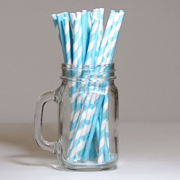 Pack Of 30 Blue Paper Straws